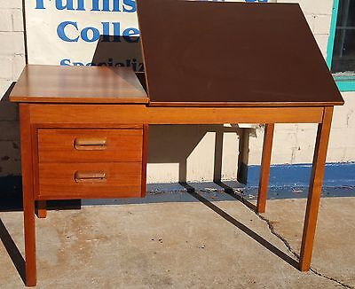 Vintage Danish Modern Teak Drafting Desk Tilt Top