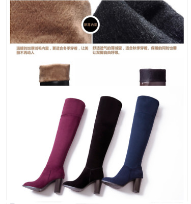 e6f10df829a 2016 New Women s Suede Round Head Chunky Heel Stretchy Over The Knee High  Boots