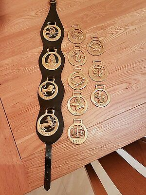Set of 12 Vintage Horse Brasses Signs of the Zodiac. 4 on leather