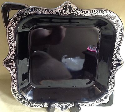 Silver City Black Amathyst Glass Console/Tray w/ Sterling Silver Overlay Border