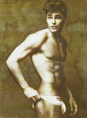 ORIGINAL Artwork Male Drawing Painting Gay Interest MCicconneT ~ A FAR FAR AWAY