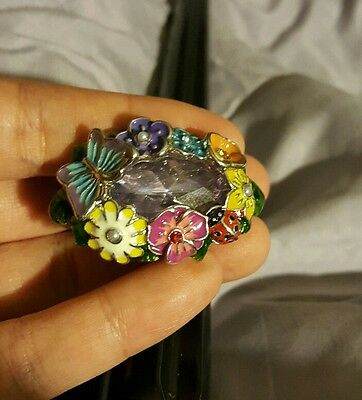Vintage Double Finger Butterfly Ladybug Colorful Flower Rhinestones Ring