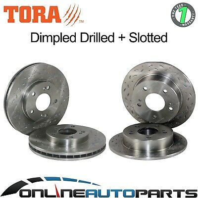 Front+Rear Slotted Disc Brake Rotors suit Nissan 200SX S14 S15 Silvia 2.0 Turbo