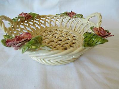 Portuguese  Hand Made and Hand Painted Open Weave Basket