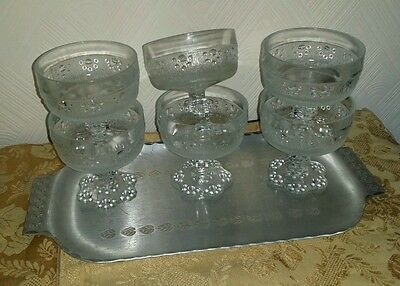 6 X Vintage  ART DECO Pressed, Footed Glass Fruit Dessert  Sundae Dishes