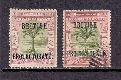 North Borneo. 3c Green and rosy-mauve. Mint and used with overprint. 1901/5