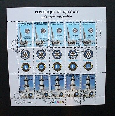 DJIBOUTI 1983 Rotary & Lions Clubs. SHEETLET of 10. Fine USED/CTO. SG884/885.