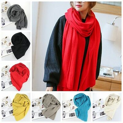 Women Winter Scarf Artificial Wool Solid Knit Knitted Long Scarf Wrap Shawl
