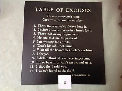 """1985-90""""table Of Excuses"""" By #s Funny Cardboard Sign With Golden Lettering - New"""