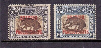 North Borneo. 10c Brown and slate-violet. 2 used stamps with overprint. 1901/5