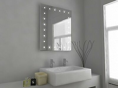 LED Illuminated Bathroom Mirror with Sensor, Shaver and Demister - Syna - c39s