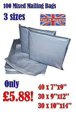 100 Mixed Mailing Bags Strong Grey Plastic Poly Postal Postage 3 Sizes Auct 1-10