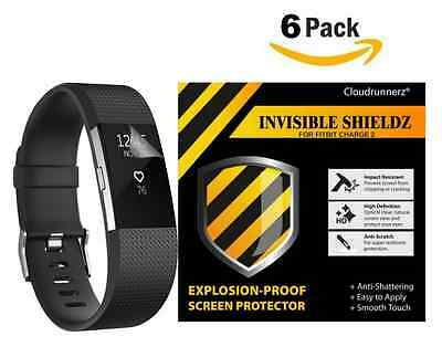 Fitbit Charge 2 Screen Protector (6-Pack) Cloudrunnerz Premium Clear Shatterproo