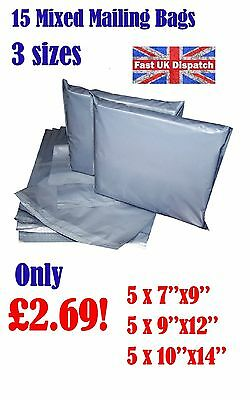15 Mixed Mailing Bags Strong Grey Plastic Poly Postal Postage Auct 3-10