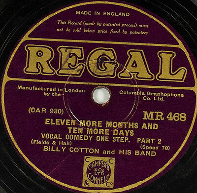 Schellack Billy Cotton - Eleven More Months And Ten More Days gramophone shellac