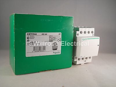 Schneider Contactor 40 Amp 4 Pole 240VAC Coil N/O Acti 9 40A iCT A9C20844 NEW