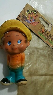VINTAGE TOY DOLL PEPITO RUBBER WITH  HAIR And Removable Hat COMMUNIST ERA CUBA