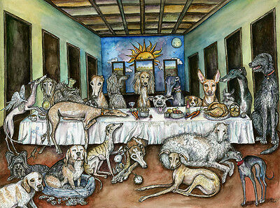 The Never-ending Supper- Greyhound Art Dog Print