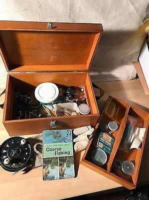 vintage wooden fishing tackle box float reel etc Angling Plus Reels Tackle