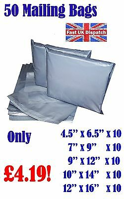 50 Mixed Mailing Bags Strong Grey Plastic Poly Postal Postage Auct 10-14