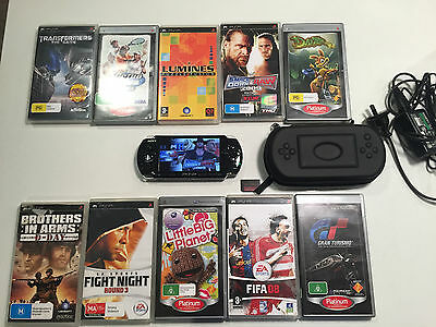Sony Playstation Portable Psp 3002 Console 10 Games Bulk Lot