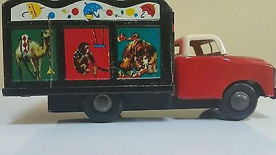 Vintage Circus Car Truck Tin Toy Friction Powered Mf 974 Transporter China