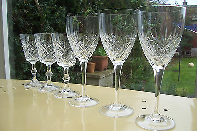 Set Of 6 Good Quality Crystal Wine Glasses 3 One Size 3 Another.