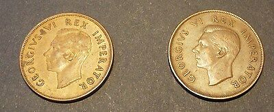 South African 1d coins 1941 and 1942