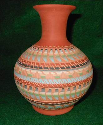 LAURA BAHE Signed NAVAJO Native American Etched Pottery Pot Large Decor Western