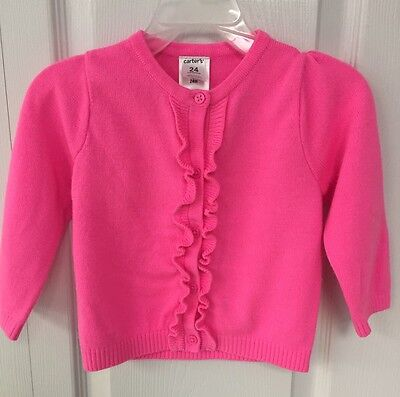 Carter's 24 Month Pink Cardigan Button Sweater Dress Ruffle Holiday Baby Girl