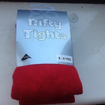 Girls red tights age 8-9 years