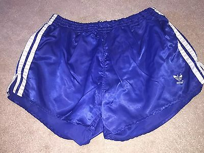 Amazing Shiny Vintage Navy Blue West German Adidas Sprinter Shorts Large D7