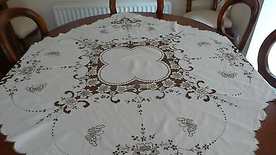Beautiful antique Irish linen Maderia embroidered tablecloth