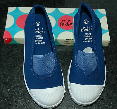 Mini Boden Slip On Pumps/Shoes Blue Boys & Girls Size 33 / UK 1  BRAND NEW Boxed