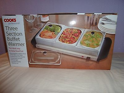 Electric Food Warmer And Buffet Server 3-Pan Stainless Steel DinerParty Family
