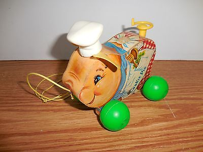 Vintage Fisher Price Cookie Pig Pull Toy Wooden