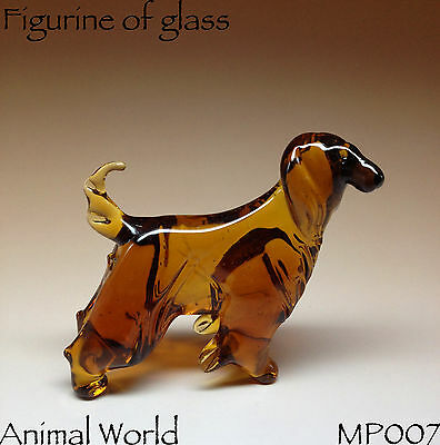 Blown Glass figurines dog Afghan Hound Animals Russian Souvenirs