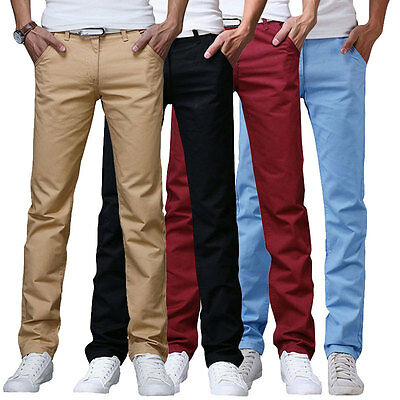 New Mens Casual Chino Pants Cotton Straight Business Solid Color Trousers Slacks