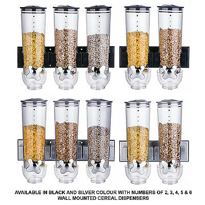 Double / Triple Wall Mounted Cereal Dispenser Dry Food Storage Container 2 Color