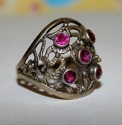 Awesome Vintage Last century Ruby Ring Silver 875 USSR Antique SIZE 9