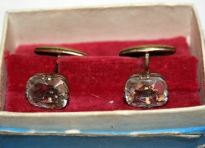 Elegant ROCK CRYSTAL Cufflinks Silver 875 Gold plated USSR Antique Awesome!