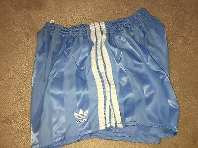 Amazing Vintage Condition Adidas Shiny Satin Sprinter Shorts Baby Blue XL D8