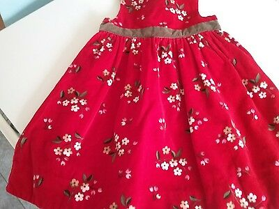 Baby gap girls 12 to 18 months red velvet print party christmas