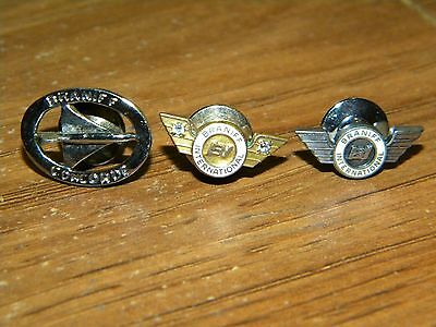 Lot of 3 Vtg Braniff Airlines Employee Lapel Pins -10k Gold, Sterling, Concorde