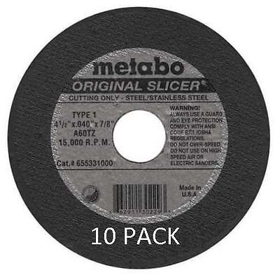 "10 Pack Lot Metabo Slicer Cut Off Whl 4-1/2"" X .040 X 7/8"" A60TZ 55331 655331000"