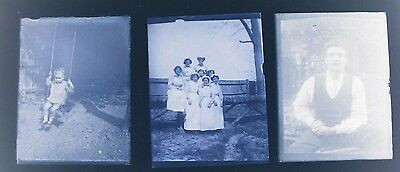 """Box Containing 14 Vintage Glass Negatives.All Shown.People,Baby,etc.4¼"""" x 3¼"""""""