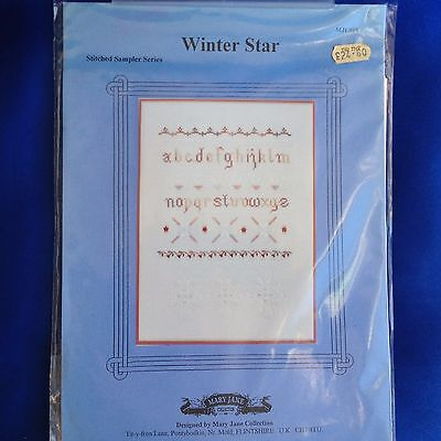 "Vintage Counted Cross Stitch Kit ""Winter Star Sampler"" by Mary Jane Collection"