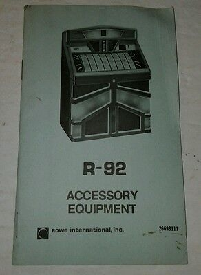 Rowe R-92 Jukebox Accessory Equipment Manual pocket size