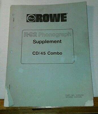 Rowe R-92 Jukebox CD/45 SUPPLEMENT Manual