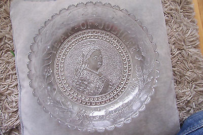 Sowerby Glass Jubilee 1887 Queen Victoria Dish With Peacock Head Mark